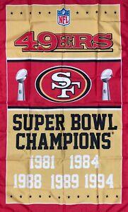 San Francisco 49ers NFL Super Bowl Championship Flag 3x5 ft Banner Man-Cave New