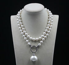 wedding white 10mm southsea AAA shell pearl necklace long 35inch