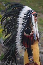 Native American Indian Black White Headdress Costume War Bonnet