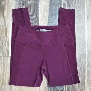 Victoria's Secret Sport Knockout Tights Small Burgundy Sheer Outer Leg Pockets