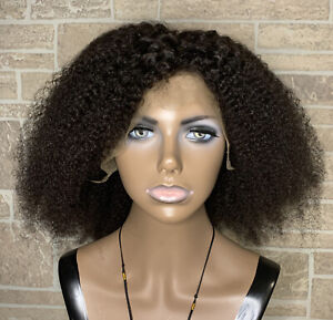 Lace Front 100% Natural Real Human Hair Wig Kinky Curly 14 inches Dark Brown