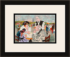 "SIGNED Original HUCHET Color Lithograph ""Tea Time in the Tuileries"" FRAMED COA"
