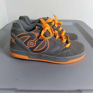 Heelys Propel 2.0 Youth Kids Size 4 Shoes Gray/Orange Roller Skating Sneakers