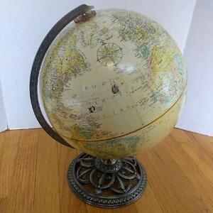 "12"" Replogle Globemaster World Globe Raised Relief Brass Base Antique Colors"