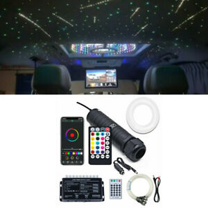 12V RGB 300Pcs+50Pcs Twinkle Meteor Star Fiber Optic Ceiling Light Kit Bluetooth