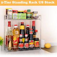 2-Tier Spice Rack Storage Organizer Spice Jars Bottle Holder Shelf Rack Kitchen