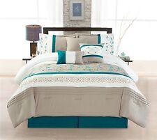 New 7-Piece Design Complete Bedding Bed Reversible Comforter Set, QUEEN MORGAN
