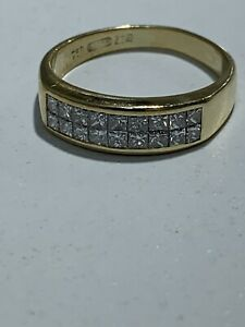 Wempe Ring 18kt YG Double Row Princess Cut Diamonds .75ct IF Clarity F color