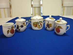 Royal Worcester Evesham Chocolate Cup, Fruit And Mustard Pots 5 pieces