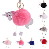 Unicorn Horse Fluffy Pom Pom Ball Keyring Bag Charm Pendant Keychain Accessories