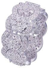 18K White Gold Round Cut Diamond Eternity Band Ring Antique Style Deco 3.50ctw