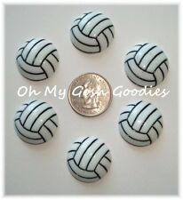 6PC VOLLEYBALL SPORT SPIKE RESIN FLAT BACK FLATBACK 4 HAIRBOW BOW CENTER