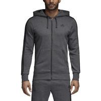 Men's Adidas Essentials 3 Stripes Fleece Hoodie Dark Grey Heather/Black