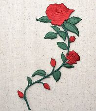 Iron On Embroidered Applique Patch Large Red Rose on Vine Stem 695735AR