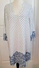 Zara popover Tunic Top XL Blue White Polka Dot Paisley Oversized