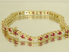 14K Yellow Gold 3.25ctw Natural Ruby and Diamond Tennis Bracelet 12.4 gms