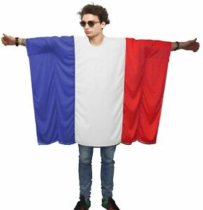 Adults Unisex French Flag Poncho One Size France Supporter Fancy Dress