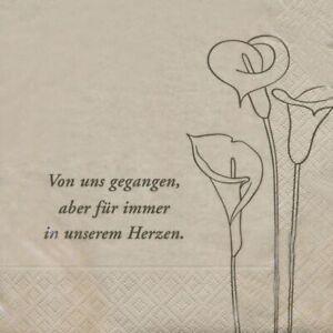 Trauer Servietten Von uns gegangen, aber für immer Herzen20 Stück 3-lagig 33x33c