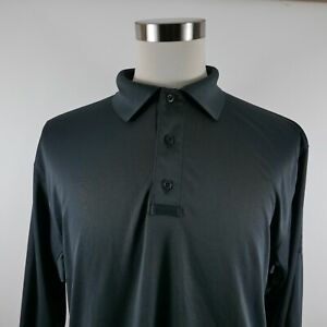 NEW Tru Spec Mens Jersey Knit Polyester 24/7 Series LS Dark Gray Polo Shirt L