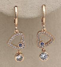 18K Gold Filled- Hollow Heart Blue Oil Painted Eye Topaz Symmetric Lady Earrings