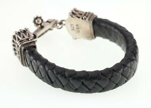 King Baby Studios Leather Bracelet w/ Sterling Silver Crown Toggle Clasp