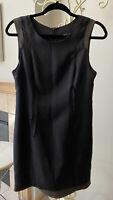 Rag And Bone Black Silk Dress With Brown Leather Trim Size 4 EUC