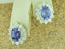 14k Solid White Gold Natural Diamond & AAA Oval Tanzanite Earring huggie 3.43 ct