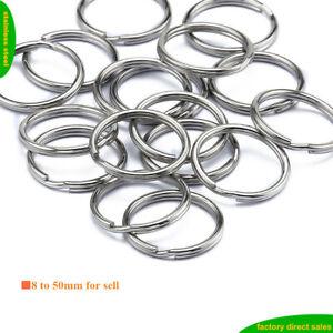 Lot  Stainless Steel Split Key Ring Keyrings Jump Chain Hook 8-50mm 10-10000pcs