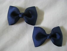 girl hair accessories navy blue bow clips large