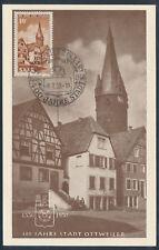 Saarland Ottweiler 1950 Ersttagskarte Maximumkarte geprüft (S14743)