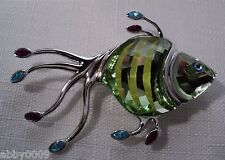 Signed Swan Swarovski Rhodium Plated Green Crystal Fish Brooch Pin