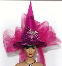 Pink Fuschia Crystal Spider Pin Salem Witch Hat #37 Fairy Doll BottleTop