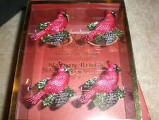LENOX HOLIDAY NAPKIN RING GOLD CARDINAL SET OF 4 NEW IN BOX