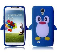 Samsung Galaxy S4 S IV Rubber SILICONE Skin Soft Case Phone Cover Blue Penguin