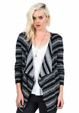 2016 NWT WOMEN VOLCOM DISCLOSED WRAP SWEATER $60 XS/S black jacquard open front