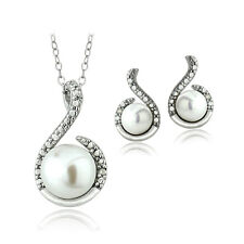 Sterling Silver White Freshwater Cultured Pearl & Diamond Accent Swirl Necklace