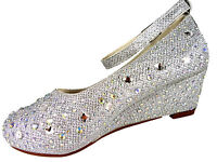 Girls Diamante Party Wedding Bridesmaid Low Wedge Heel Shoes Silver Bling