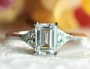 14k White Gold 2.50 ct Emerald Cut Diamond Engagement Ring Anniversary Gift