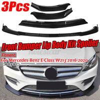 For Mercedes E-Class W213 2016-2020 3PCs Glossy Black Front Bumper Lip Spoiler