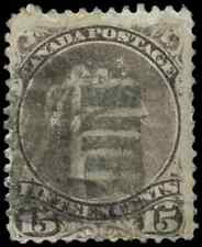 Canada #29v used F 1868 Queen Victoria 15c Large Queen Bothwell & Fancy Cork can