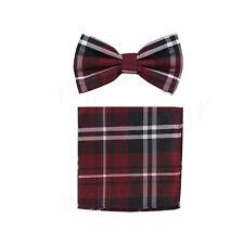 New formal men's pre tied Bow tie & Hankie set plaid & checkers burgundy wedding