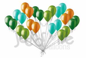 24 pc Aqua Green Orange Dinosaur Inspired Latex Balloons Party Decoration Boy