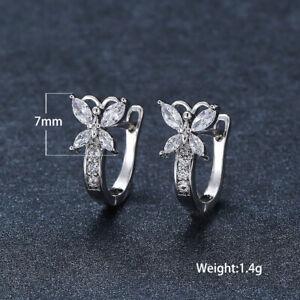 925 Silver Wedding Butterfly Zircon Gold Earrings Hoop Women Chic Jewelry Gifts