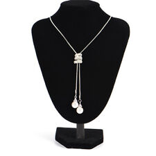 Fashion Long Pearl Rhinestone Pendant Necklace Sweaters Chains Crystal Necklaces