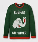 White Elephant Funny Ugly Christmas Sweater Green Red Subpar Gift Giver XL NWT