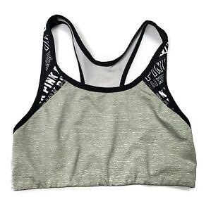PINK Victoria's Secret Ultimate Unlined Sports Bra Women's Size Small Gray Black
