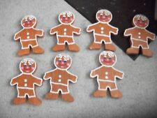 "Lot of 7 styrofoam Gingerbread Men Hand Painted 11"" two sided ornaments cute"