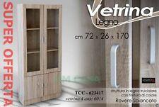 VETRINA 4 ANTE H170*72*26 Moderna Elegante LEGNO ROVERE SBIANCATO TCC