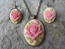 PINK ROSE ON TAN - BRONZE NECKLACE AND FRENCH LEVER BACK EARRINGS SET-- GIFTS!!