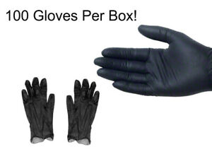 100 BLACK VINYL GLOVES, Powder Free and Non-Latex Small, Medium, Large, X-Large